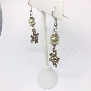 {3 for $20} sea turtle dangle earrings with pearls